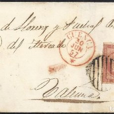 Sellos: 1857. CUENCA A VALENCIA. 4 CUARTOS ED. 48 MAT. PARRILLA NEGRA. FECHADOR TIPO I ROJO. ENVUELTA.. Lote 150347654