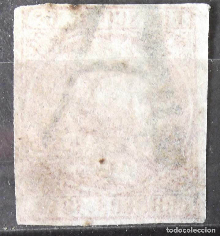 Sellos: Edifil 12, usado, parrilla negra. Marca prefilatélica (A). Baja calidad. Isabel II. - Foto 2 - 150531602