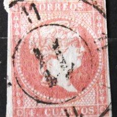 Sellos: EDIFIL 48, CARRETA NEGRA Nº 11, CORTECITO. ISABEL II.. Lote 150532670