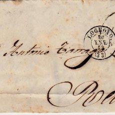 Sellos: CARTA ENTERA CON SELLO NUM. 48 DE PEDRO GIMENEZ EN LOGROÑO -1859- RUEDA CARRETA . Lote 150549062