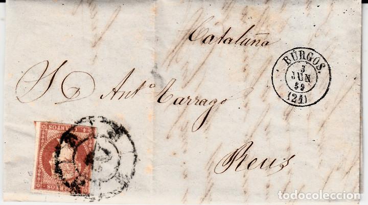 CARTA ENTERA CON SELLO NUM. 48 DE MORAL EN BURGOS -1859- RUEDA CARRETA (Sellos - España - Isabel II de 1.850 a 1.869 - Cartas)