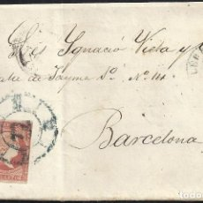 Sellos: 1859. LÉRIDA A BARCELONA. 4 CUARTOS ED. 48 MAT. RC 32 AZUL. FECHADOR TIPO II AZUL. . Lote 150739518