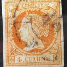 Sellos: EDIFIL 52, USADO, CARRETA Nº 46 (TARRAGONA), CORTECITO. ISABEL II.. Lote 150780174