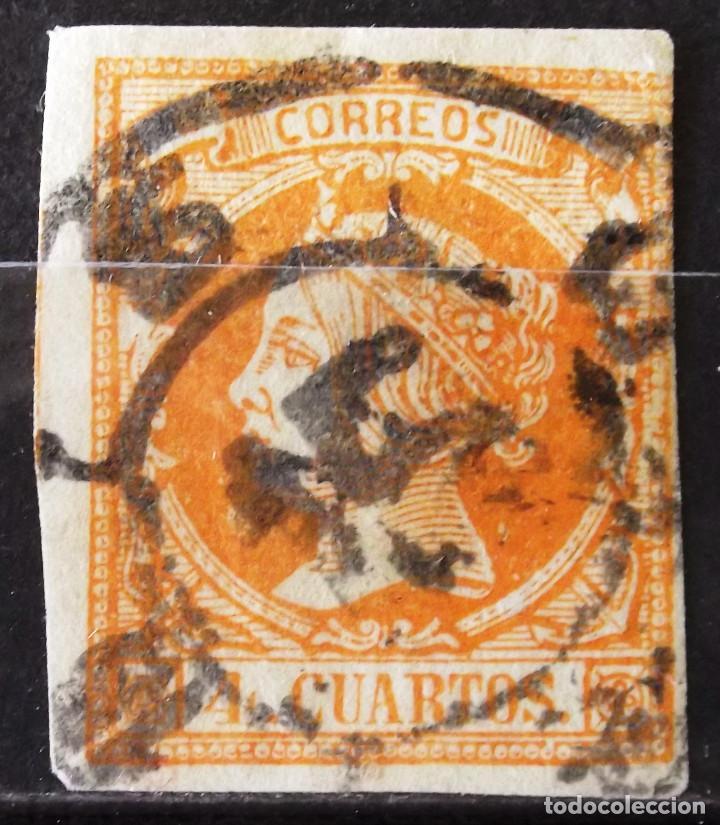 EDIFIL 52, USADO, CARRETA Nº 15 (ZARAGOZA). ISABEL II. (Sellos - España - Isabel II de 1.850 a 1.869 - Usados)