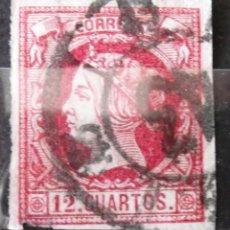 Sellos: EDIFIL 53 A, USADO, COLOR: CARMÍN OSCURO / ANTEADO; MUY LIGERA DESCARNADURA EN UN MARGEN.. Lote 150955502