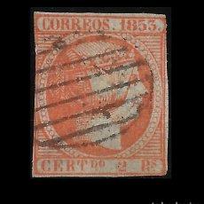 Sellos: 1853. ISABEL II.FALSO SPERATI. CERTIFICADO DE OPINIÓN C.M.F. 2R BERMELLÓN. MATASELLO .EDIF. Nº 19. Lote 151236494