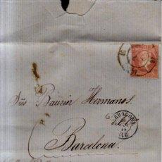 Sellos: AÑO 1856 EDIFIL 48 ISABEL II CARTA A BARCELONA MATASELLOS RUEDA DE CARRETA 46 TARRAGONA . Lote 151856602