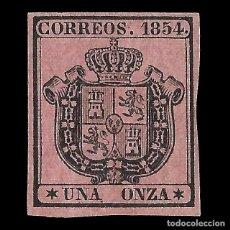 Sellos: ISABEL II 1854. ESCUDO DE ESPAÑA. 1 ONZA. NEGRO S ROSA. NUEVO*. EDIF. Nº 29. Lote 152190122