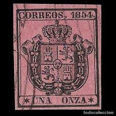 Sellos: ISABEL II 1854. ESCUDO DE ESPAÑA. 1 ONZA. NEGRO S ROSA. MATASELLO. EDIF. Nº 29. Lote 152190622