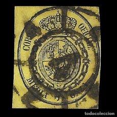 Sellos: ISABEL II 1855. ESCUDO DE ESPAÑA. 1/2 ONZA. NEGRO S AMARILLO. MATASELLO. EDIF. Nº 35. Lote 152218054