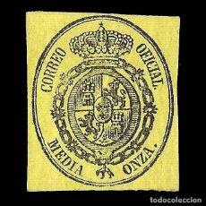 Sellos: ISABEL II 1855. ESCUDO DE ESPAÑA. 1/2 ONZA. NEGRO S AMARILLO. NUEVO. EDIF. Nº 35. Lote 152219334