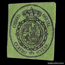 Sellos: ISABEL II 1855. ESCUDO DE ESPAÑA. 4 ONZAS. NEGRO S VERDE. NUEVO. EDIF. Nº 37. Lote 152221770