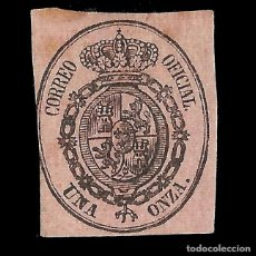 Sellos: ISABEL II 1855. ESCUDO DE ESPAÑA. UNA ONZAS. NEGRO S ROSA. NUEVO. EDIF. Nº 36. Lote 152222354