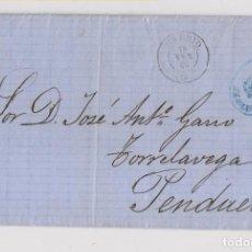 Sellos: CARTA ENTERA. FRANQUICIA DEL SENADO. A PENDUELES. ASTURIAS. POR TORRELAVEGA. 1868. Lote 152290282