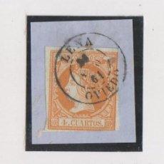 Sellos: FRAGMENTO. FECHADOR LENA, ASTURIAS. 1861. 4 CUARTOS AMARILLO.. Lote 152365126