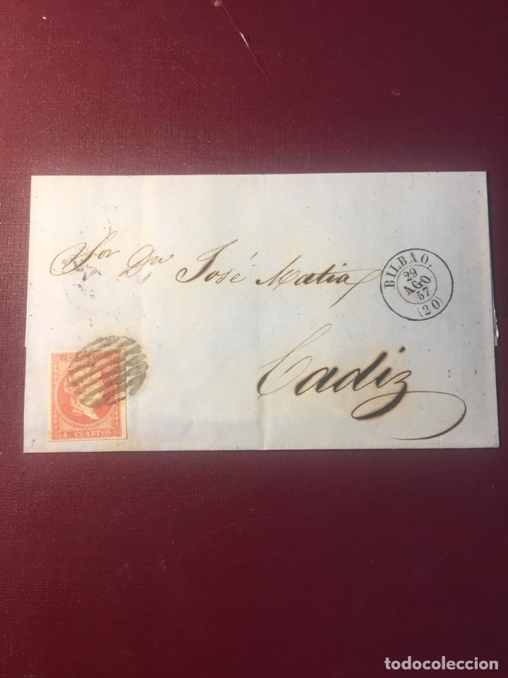 CARTA FILATELICA,(BILBAO 1857). (Sellos - España - Isabel II de 1.850 a 1.869 - Cartas)