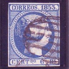 Sellos: ESPAÑA 21 - ISABEL II. 6 REALES AZUL 1853. USADO PRECIOSO. CAT. 580 €.. Lote 153320838