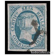 Sellos: ESPAÑA 1851. EDIFIL 10, TIPO VIII. ISABEL II (-LUJO- BUENOS MARGENES) CATÁLOGO 1400 €. USADO. Lote 154843834