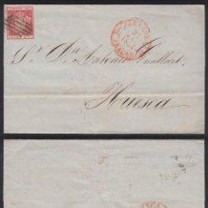 Sellos: HISTORIA POSTAL. ENVUELTA DE ZARAGOZA A HUESCA. FECHADOR ROJO Y PARRILLA NEGRA.. Lote 155073194