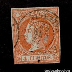 Sellos: CL2-478 ESPAÑA ISABEL II 4 CUARTOS EDIFIL Nº 52 CON MATASELLOS DE FECHA DE CARCAGENTE (VALENCIA). Lote 155352298