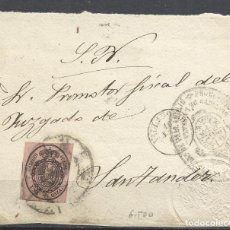 Sellos: Q505T-CARTA PLICA Nº36 1863 FRONTAL ALGÚN RARO MATASELLOS VALLADOLID SANTANDER. Lote 155751910