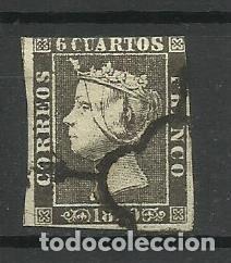 ESPAÑA 1850 USADO (PRIMER SELLO) CON MATASELLO EN FORMA DE ARAÑA (Sellos - España - Isabel II de 1.850 a 1.869 - Usados)