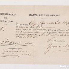 Selos: RESERVADO. RAMO DE APARTADO. CORREO CENTRAL. MADRID. 1870. Lote 156556534