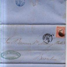 Sellos: AÑO 1856 EDIFIL 48 ISABEL II CARTA MATASELLOS REJILLA Y VALENCIA MEMBRETE MANUEL HERNANDEZ. Lote 156610810