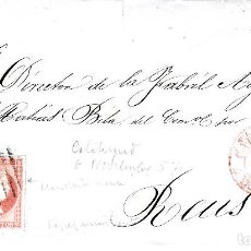 Sellos: CARTA ENTERA CON SELLO NUM. 48 DE JOAQUIN PEREZ PEREZ DE CALATAYUD DESTINO REUS 1857 - FECHADOR ROJO. Lote 156721478