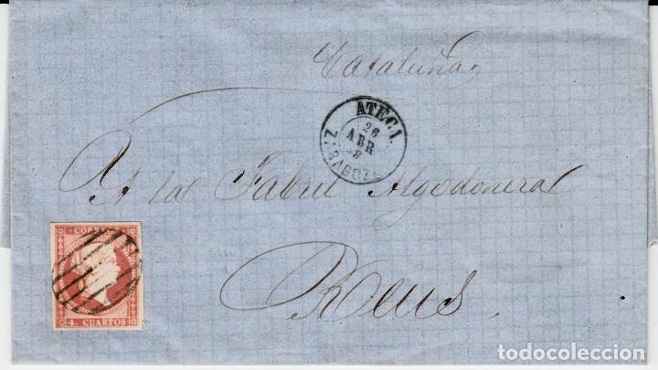 CARTA COMPLETA CON SELLO NUM. 48 DE ATECA -ZARAGOZA- - 1858-VARIEDAD DEL SELLO CARA SIN SOMBRAS (Sellos - España - Isabel II de 1.850 a 1.869 - Cartas)