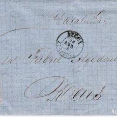 Sellos: CARTA COMPLETA CON SELLO NUM. 48 DE ATECA -ZARAGOZA- - 1858-VARIEDAD DEL SELLO CARA SIN SOMBRAS . Lote 156722830