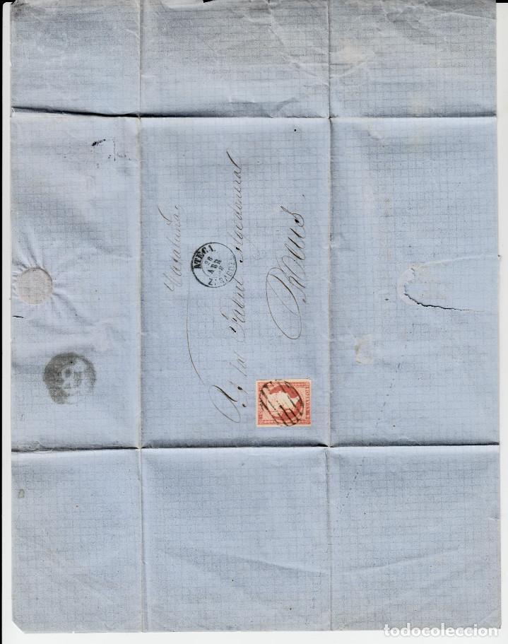 Sellos: CARTA COMPLETA CON SELLO NUM. 48 DE ATECA -ZARAGOZA- - 1858-VARIEDAD DEL SELLO CARA SIN SOMBRAS - Foto 2 - 156722830