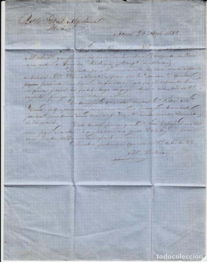 Sellos: CARTA COMPLETA CON SELLO NUM. 48 DE ATECA -ZARAGOZA- - 1858-VARIEDAD DEL SELLO CARA SIN SOMBRAS - Foto 3 - 156722830