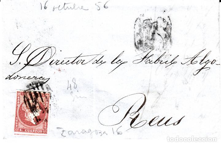 CARTA ENTERA CON SELLO NUM. 48 DE FABREGAS Y ALBERT DE ZARAGOZA - 1856 - (Sellos - España - Isabel II de 1.850 a 1.869 - Cartas)