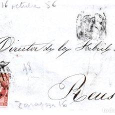 Sellos: CARTA ENTERA CON SELLO NUM. 48 DE FABREGAS Y ALBERT DE ZARAGOZA - 1856 - . Lote 156728642