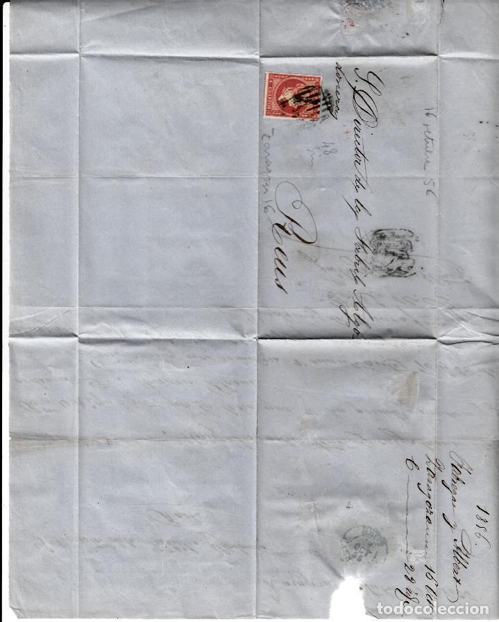 Sellos: CARTA ENTERA CON SELLO NUM. 48 DE FABREGAS Y ALBERT DE ZARAGOZA - 1856 - - Foto 2 - 156728642