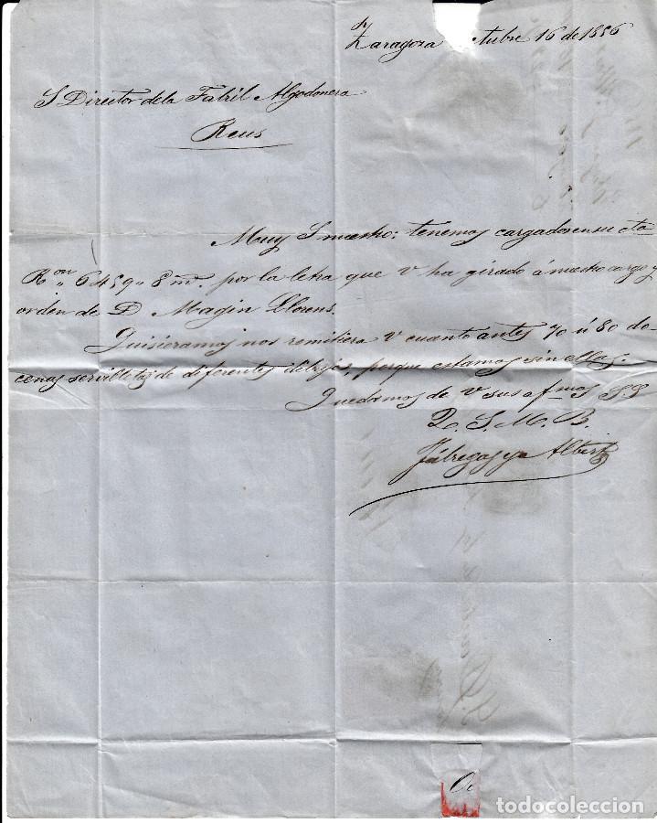 Sellos: CARTA ENTERA CON SELLO NUM. 48 DE FABREGAS Y ALBERT DE ZARAGOZA - 1856 - - Foto 3 - 156728642