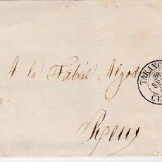 Sellos: CARTA ENTERA CON SELLO NUM. 48 DE JOSÉ CARNÉ Y CIA EN TARANCÓN - CUENCA-1857. Lote 156747474