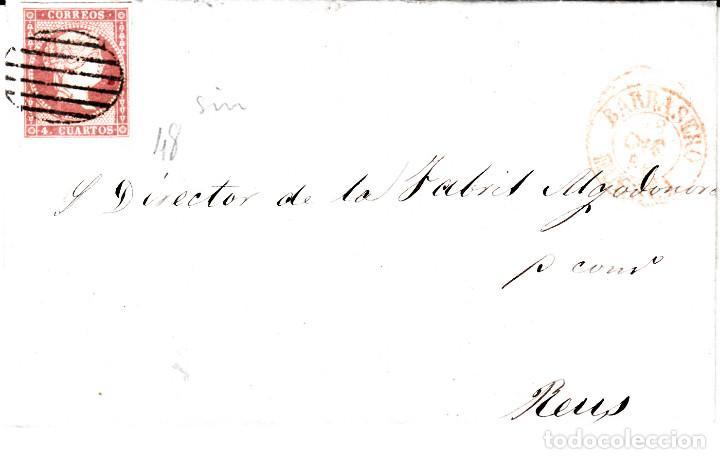 CARTA ENTERA CON SELLO NUM. 48 DE JOAQUIN MEDIANO EN BARBASTRO -HUESCA- 1856 (Sellos - España - Isabel II de 1.850 a 1.869 - Cartas)