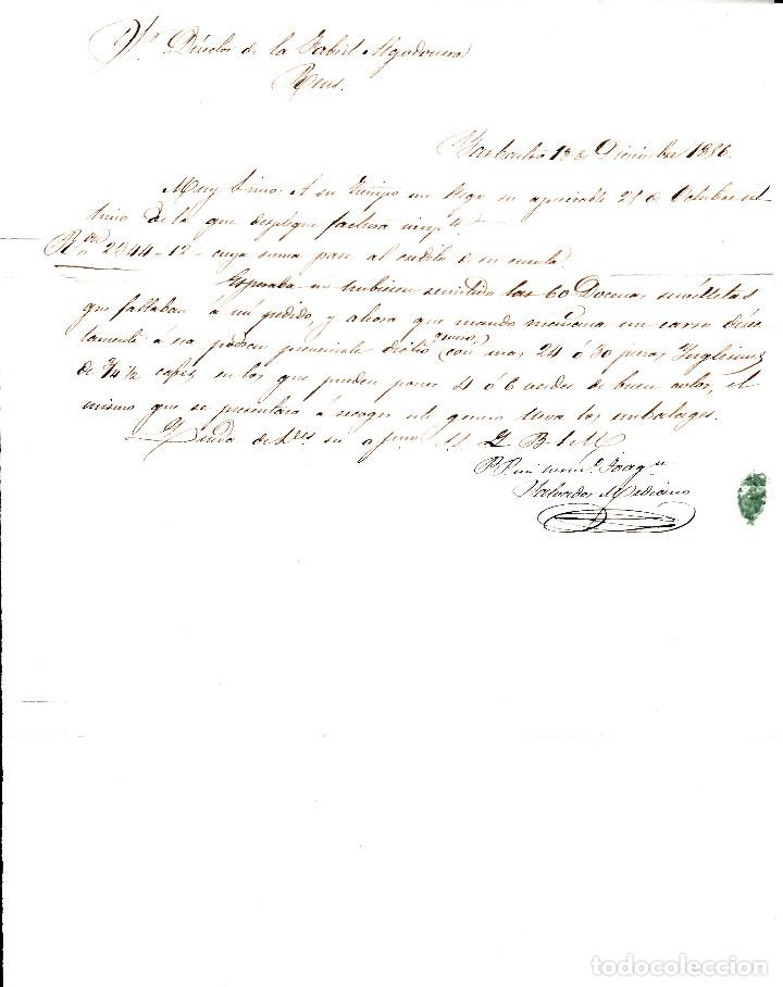 Sellos: CARTA ENTERA CON SELLO NUM. 48 DE JOAQUIN MEDIANO EN BARBASTRO -HUESCA- 1856 - Foto 3 - 156750290