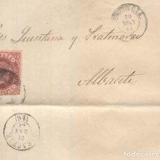 Sellos: AÑO 1868 EDIFIL 58 ISABEL II ENVUELTA MATASELLOS RUEDA DE CARRETA 8 VALENCIA. Lote 156878822