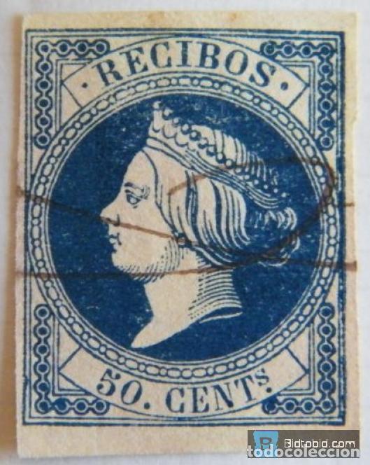 SELLO FISCAL RECIBOS ISABEL II 1861, 50 CÉNTIMOS Nº1 (2) (Sellos - España - Isabel II de 1.850 a 1.869 - Nuevos)