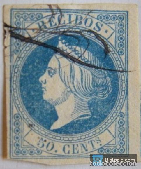 SELLO FISCAL RECIBOS ISABEL II 1861, 50 CÉNTIMOS Nº1 (5) (Sellos - España - Isabel II de 1.850 a 1.869 - Nuevos)