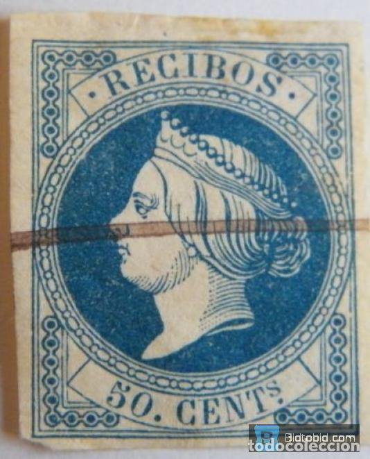 SELLO FISCAL RECIBOS ISABEL II 1861, 50 CÉNTIMOS Nº1 (8) (Sellos - España - Isabel II de 1.850 a 1.869 - Nuevos)