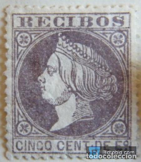 SELLO FISCAL RECIBOS ISABEL II 1866, 5 CÉNTIMOS NºP3 (Sellos - España - Isabel II de 1.850 a 1.869 - Nuevos)