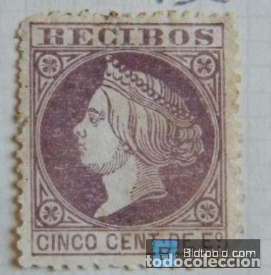 SELLO FISCAL RECIBOS ISABEL II 1866, 5 CÉNTIMOS NºP3 (3) (Sellos - España - Isabel II de 1.850 a 1.869 - Nuevos)