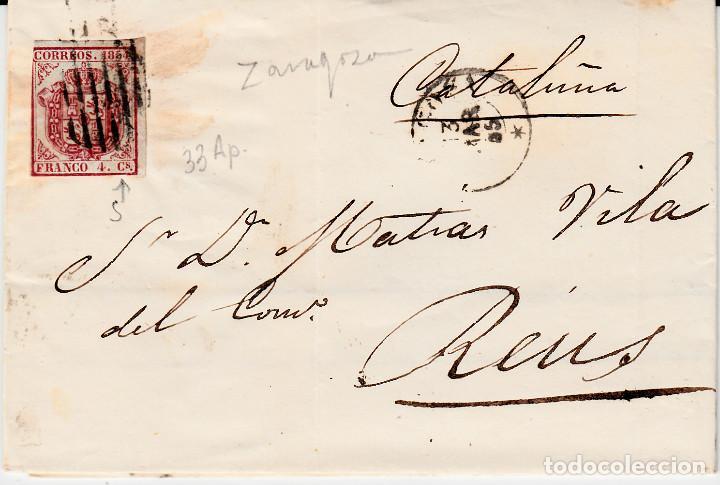 CARTA ENTERA CON SELLO NUM. 33 AP DE VDA. DE HORSEA EN ZARAGOZA - -1855--. DESTINO REUS (Sellos - España - Isabel II de 1.850 a 1.869 - Cartas)