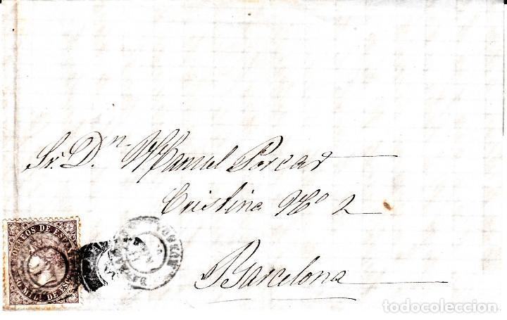 CARTA ENTERA CON SELLO NUM. 98 DE SEBASTIAN CASALS EN BARBASTRO (HUESCA) --1869-- (Sellos - España - Isabel II de 1.850 a 1.869 - Cartas)