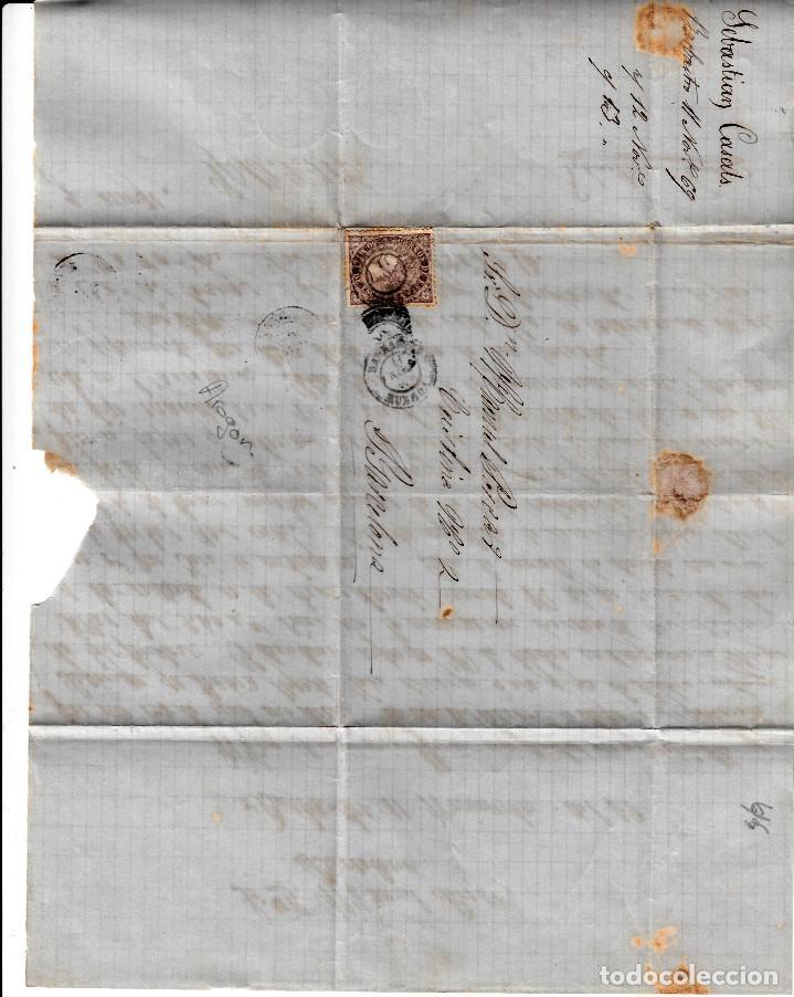 Sellos: CARTA ENTERA CON SELLO NUM. 98 DE SEBASTIAN CASALS EN BARBASTRO (HUESCA) --1869-- - Foto 2 - 157241066