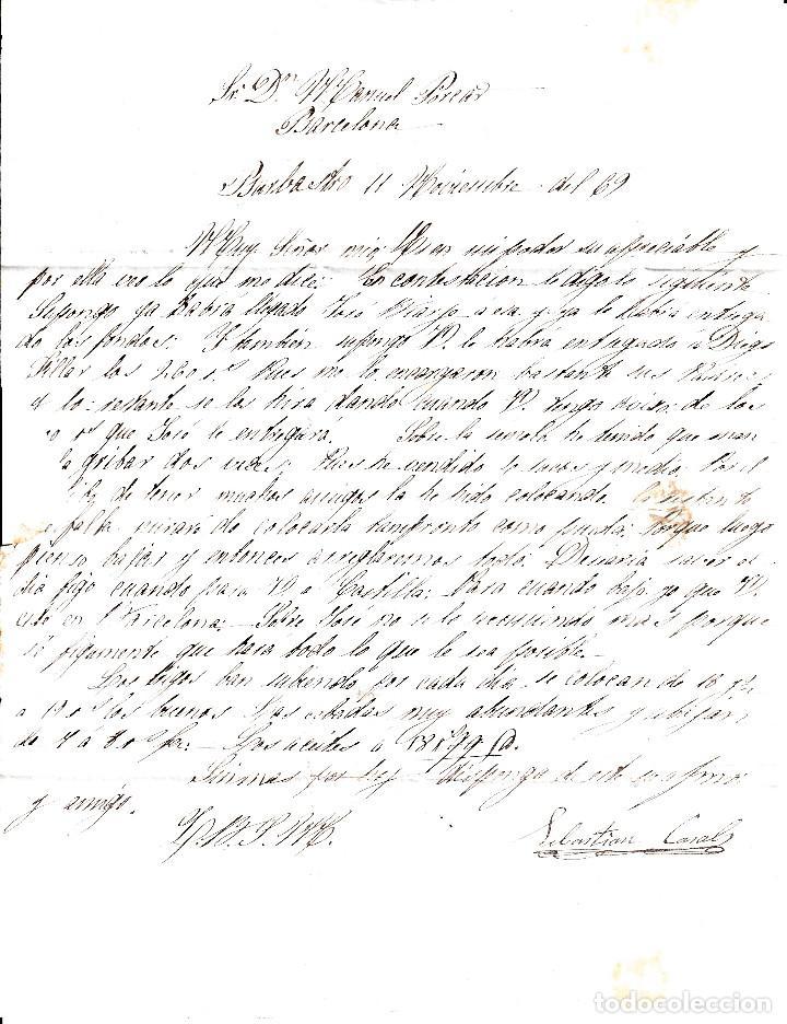 Sellos: CARTA ENTERA CON SELLO NUM. 98 DE SEBASTIAN CASALS EN BARBASTRO (HUESCA) --1869-- - Foto 3 - 157241066